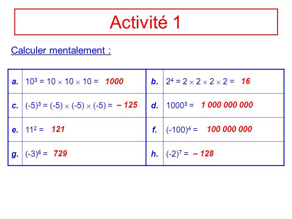 Activité 1 Calculer mentalement : a. 103 = 10  10  10 = b.