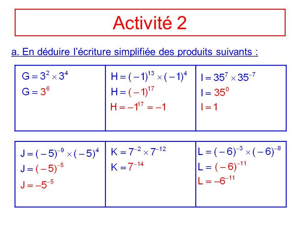 Activité 2 a. En déduire l'écriture simplifiée des produits suivants :
