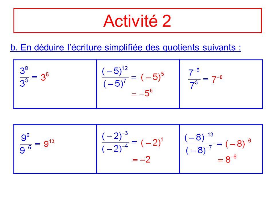 Activité 2 b. En déduire l'écriture simplifiée des quotients suivants :