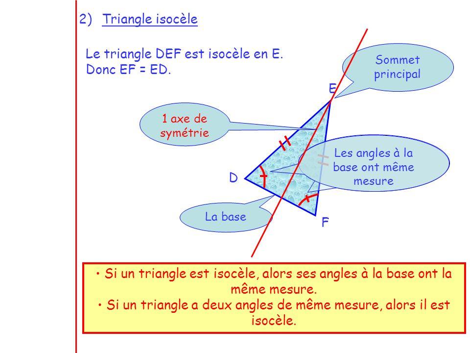 Le triangle DEF est isocèle en E. Donc EF = ED.