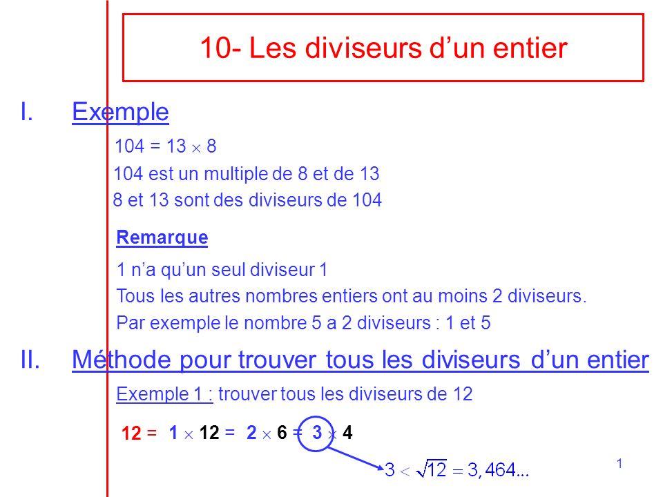 10- Les diviseurs d'un entier