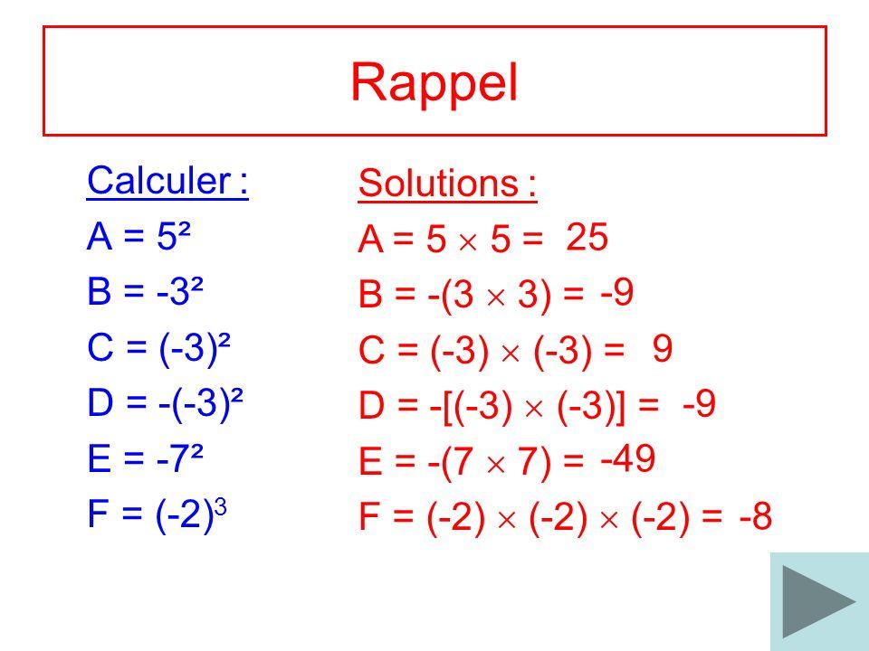 Rappel Calculer : Solutions : A = 5² A = 5  5 = B = -3²