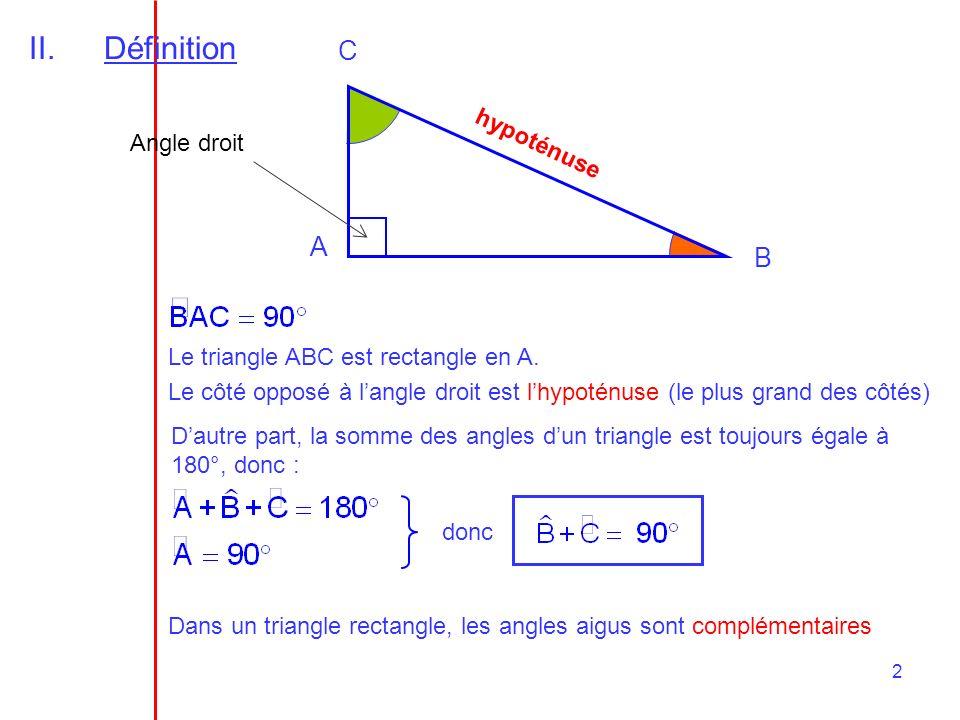 Définition C A B hypoténuse Angle droit
