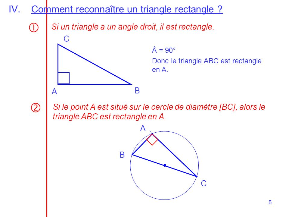   Comment reconnaître un triangle rectangle