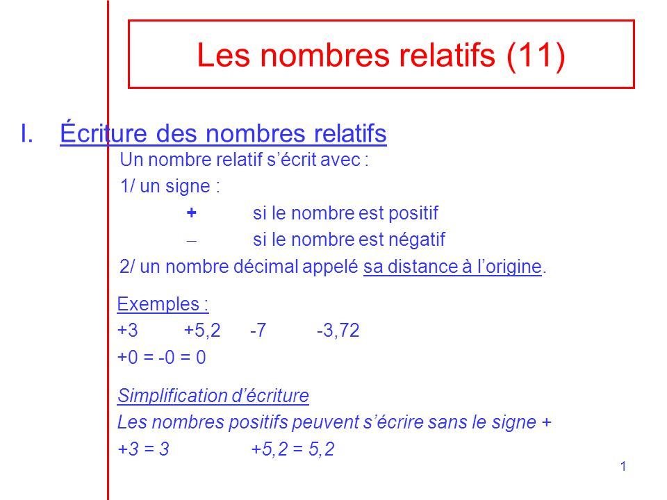 Les nombres relatifs (11)