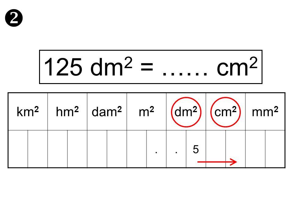  125 dm2 = …… cm2 km2 hm2 dam2 m2 dm2 cm2 mm2 . 5