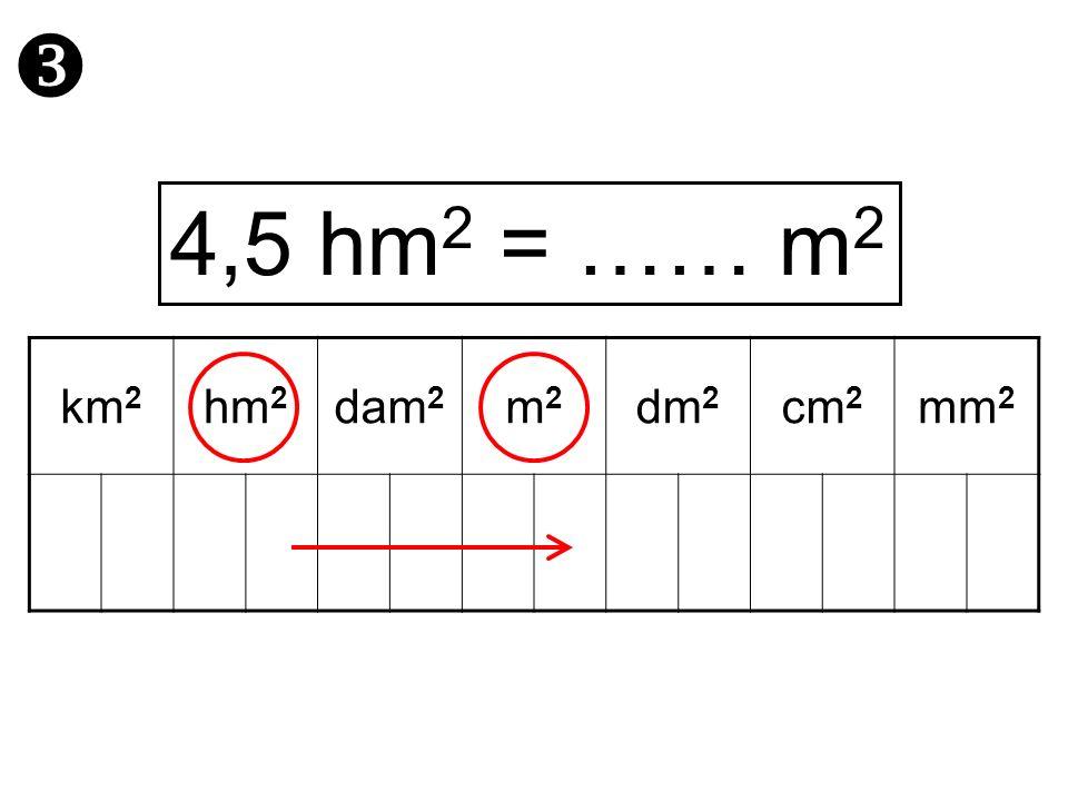  4,5 hm2 = …… m2 km2 hm2 dam2 m2 dm2 cm2 mm2