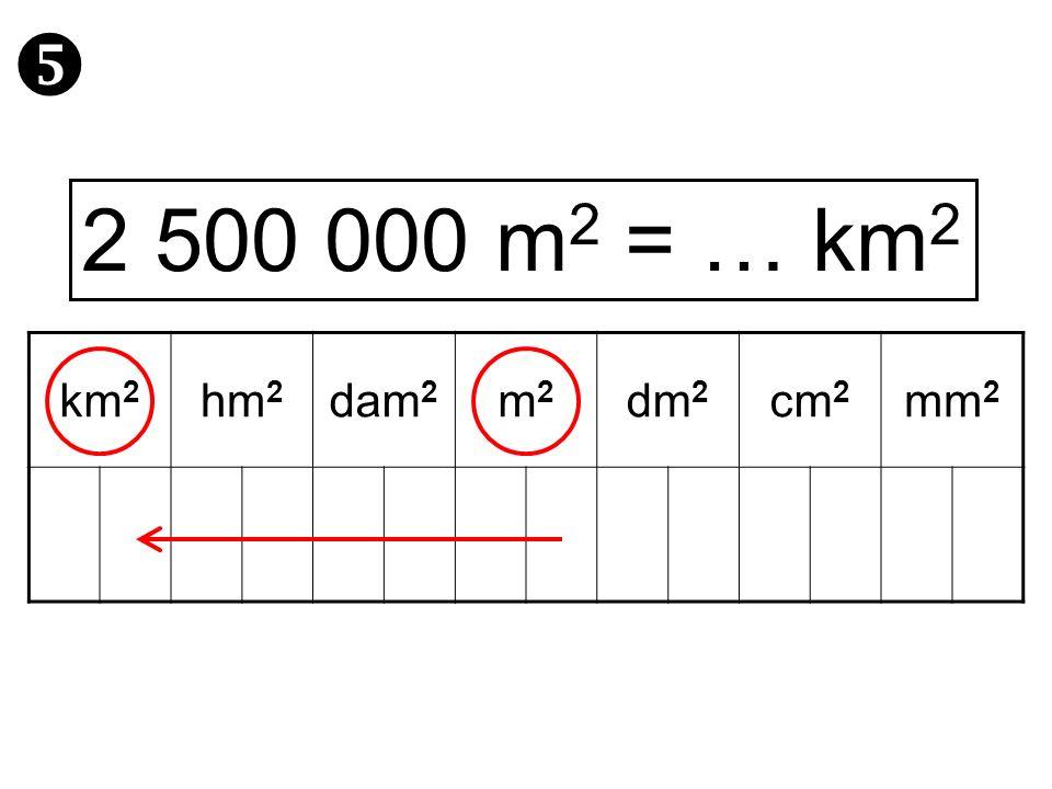  2 500 000 m2 = … km2 km2 hm2 dam2 m2 dm2 cm2 mm2