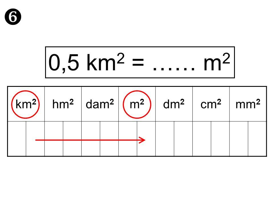  0,5 km2 = …… m2 km2 hm2 dam2 m2 dm2 cm2 mm2