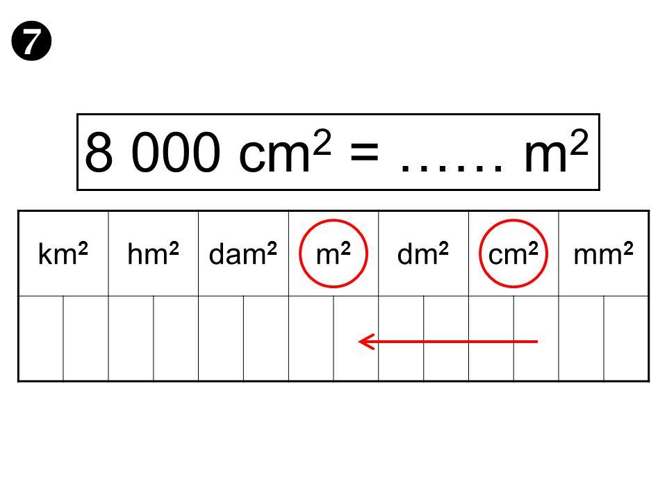  8 000 cm2 = …… m2 km2 hm2 dam2 m2 dm2 cm2 mm2