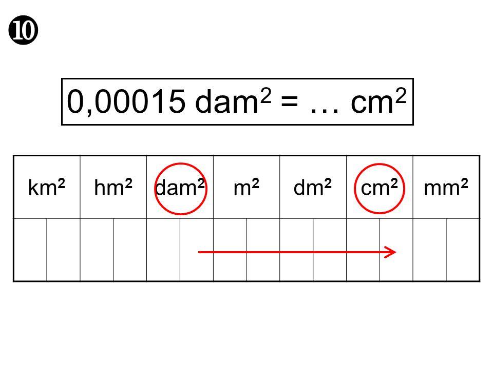 0,00015 dam2 = … cm2 km2 hm2 dam2 m2 dm2 cm2 mm2