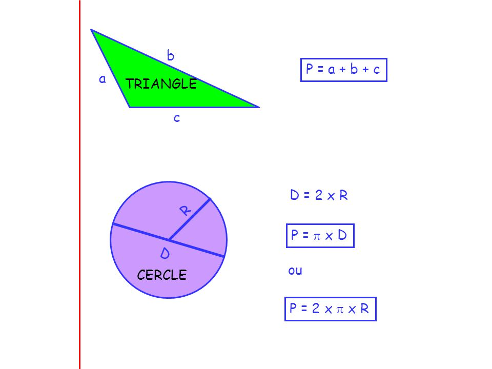 TRIANGLE b P = a + b + c a c D R D = 2 x R P =  x D ou CERCLE P = 2 x  x R