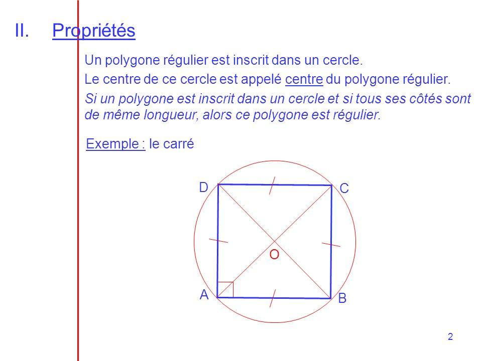 Propriétés Un polygone régulier est inscrit dans un cercle.