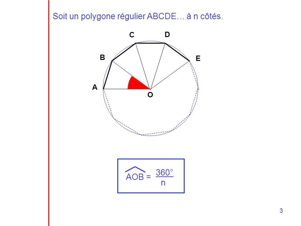 Soit un polygone régulier ABCDE… à n côtés.