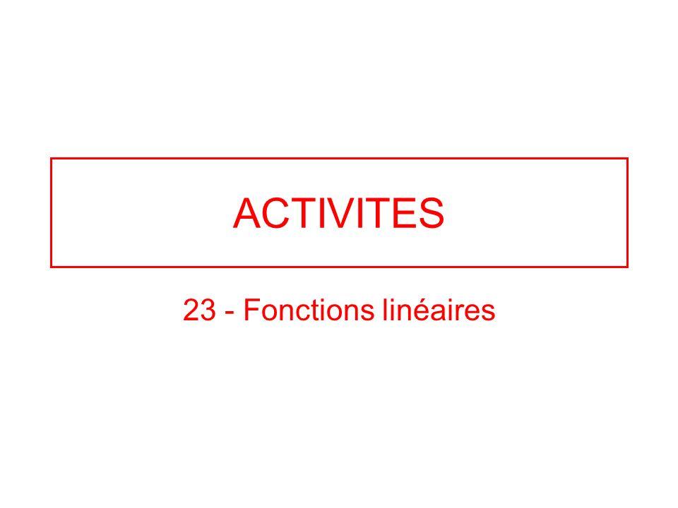 ACTIVITES 23 - Fonctions linéaires