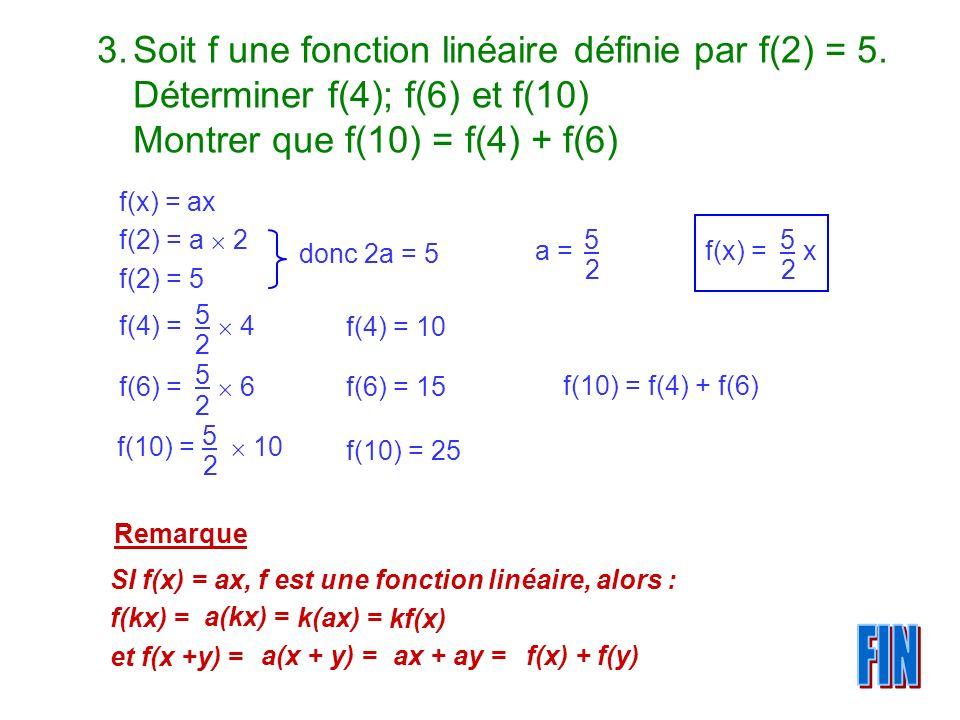 Soit f une fonction linéaire définie par f(2) = 5