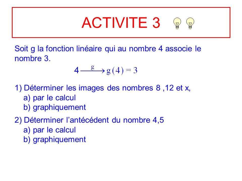 ACTIVITE 3 Soit g la fonction linéaire qui au nombre 4 associe le nombre 3. 1) Déterminer les images des nombres 8 ,12 et x,