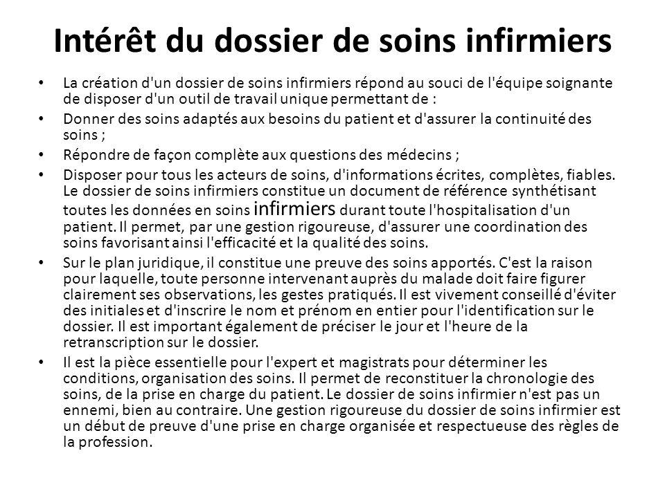 Intérêt du dossier de soins infirmiers