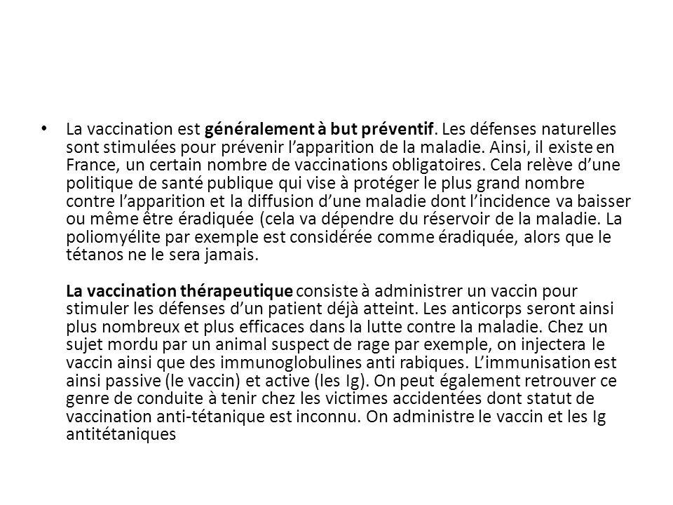 La vaccination est généralement à but préventif