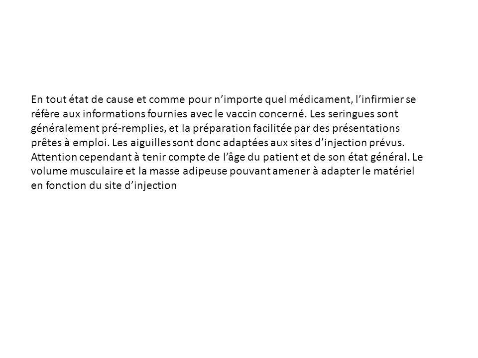 En tout état de cause et comme pour n'importe quel médicament, l'infirmier se réfère aux informations fournies avec le vaccin concerné.