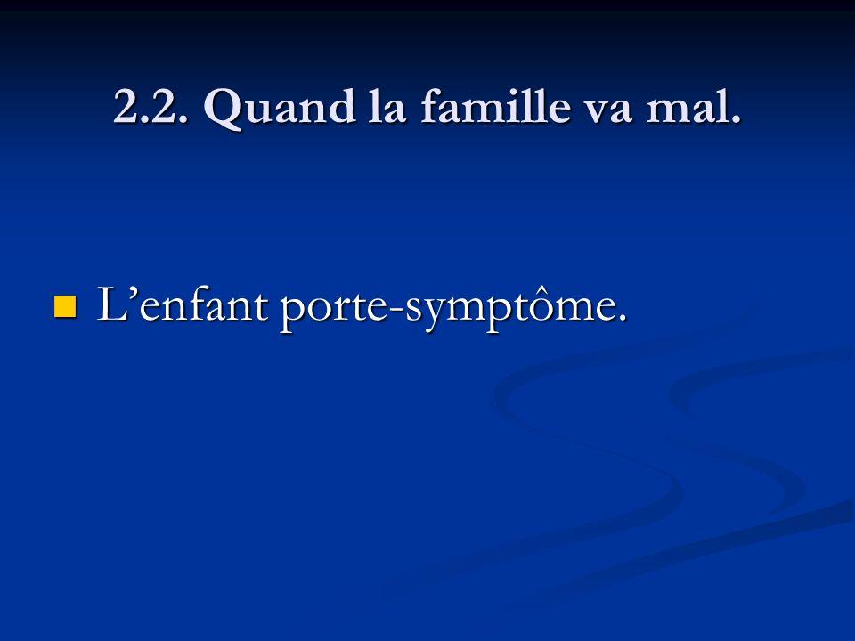 2.2. Quand la famille va mal. L'enfant porte-symptôme.