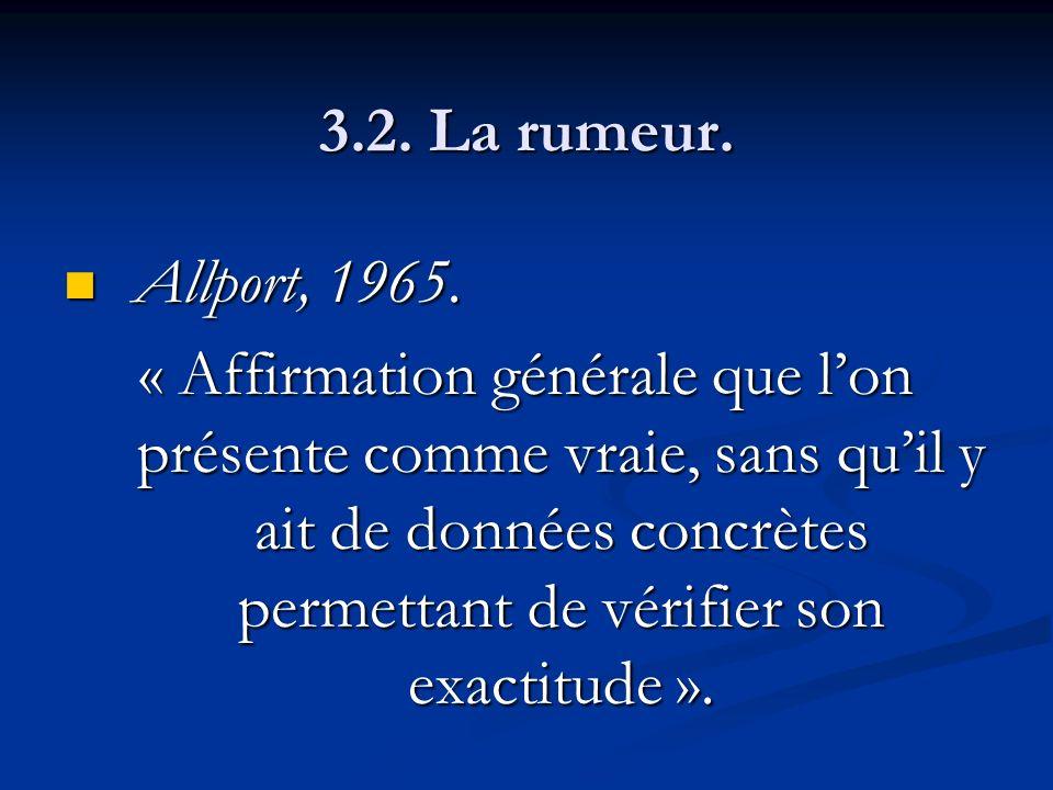 3.2. La rumeur. Allport, 1965.
