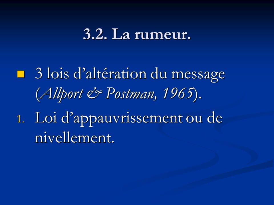 3.2. La rumeur. 3 lois d'altération du message (Allport & Postman, 1965).