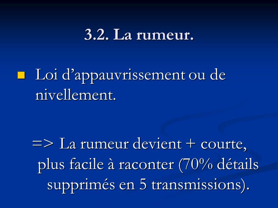 3.2. La rumeur. Loi d'appauvrissement ou de nivellement.