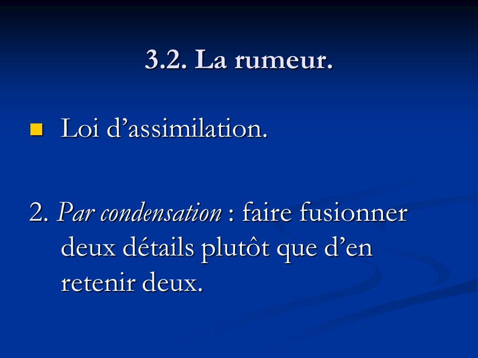 3.2. La rumeur. Loi d'assimilation. 2.