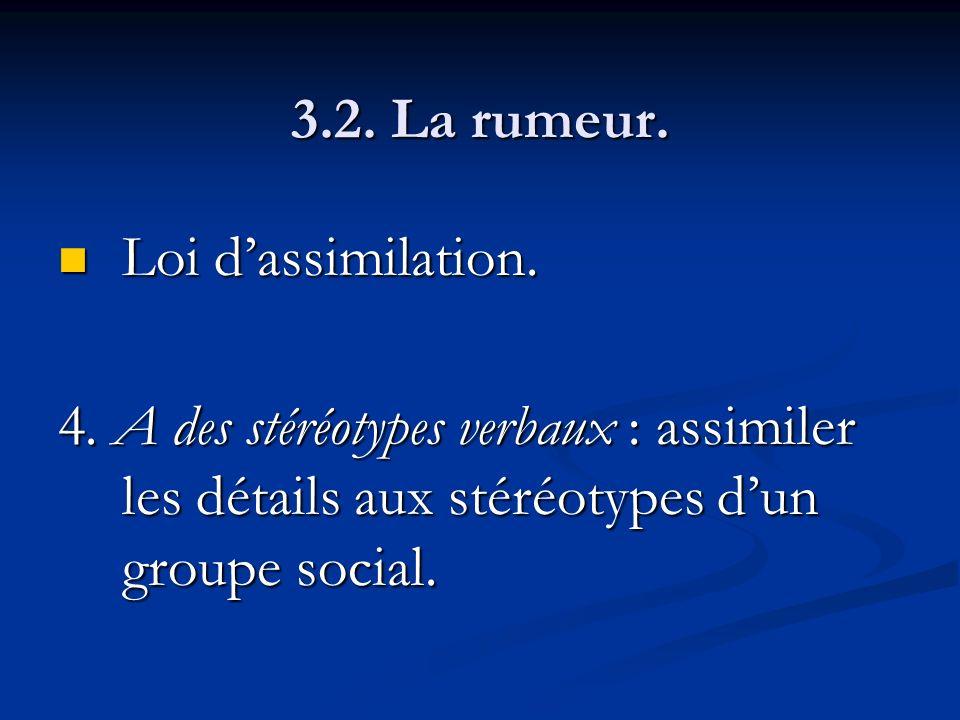3.2. La rumeur. Loi d'assimilation. 4.