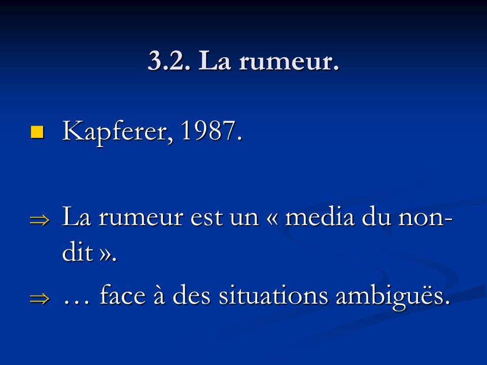 3.2. La rumeur. Kapferer, 1987. La rumeur est un « media du non-dit ».