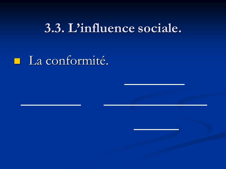 3.3. L'influence sociale. La conformité.
