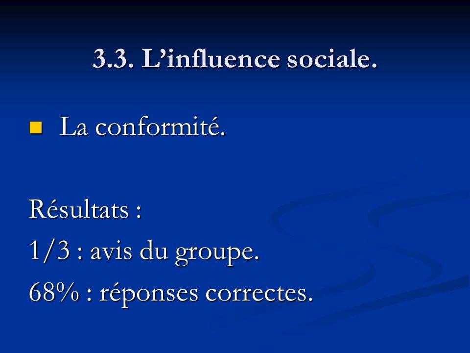 3.3. L'influence sociale. La conformité. Résultats : 1/3 : avis du groupe.