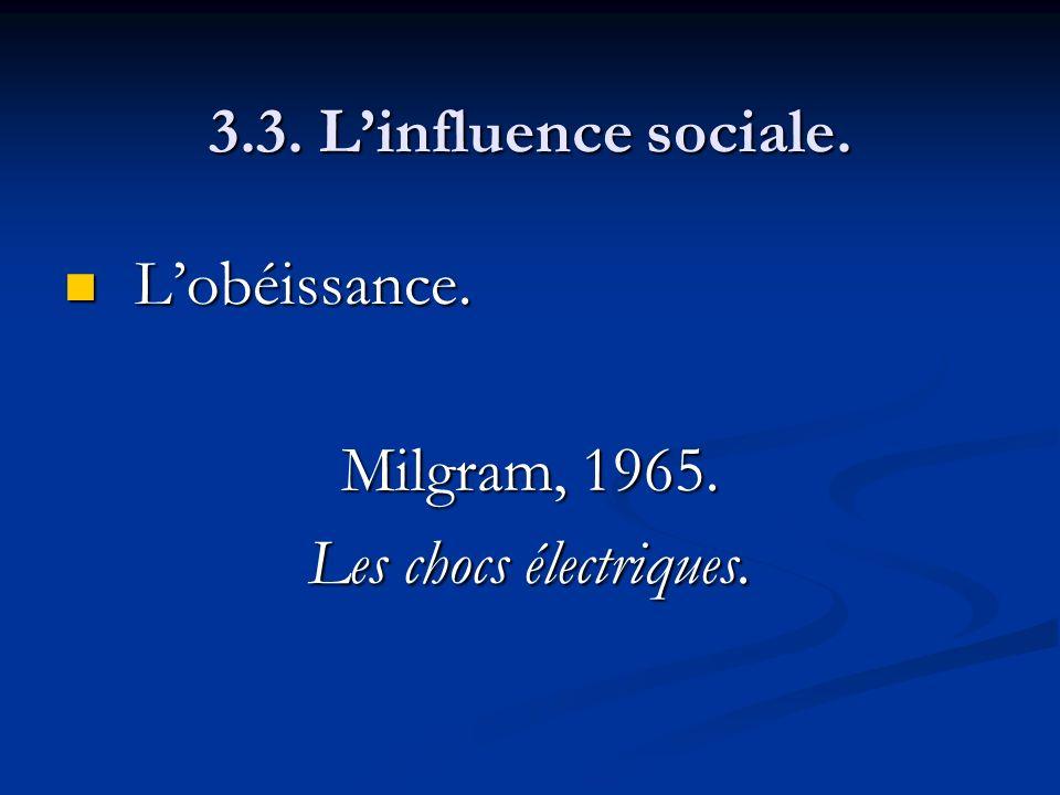 3.3. L'influence sociale. L'obéissance. Milgram, 1965. Les chocs électriques.