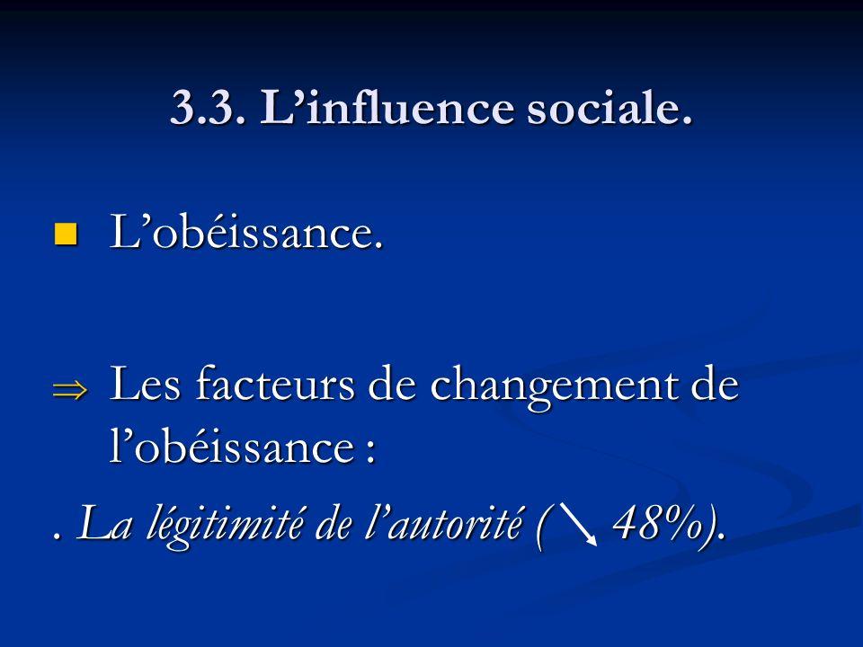 3.3. L'influence sociale. L'obéissance. Les facteurs de changement de l'obéissance : .