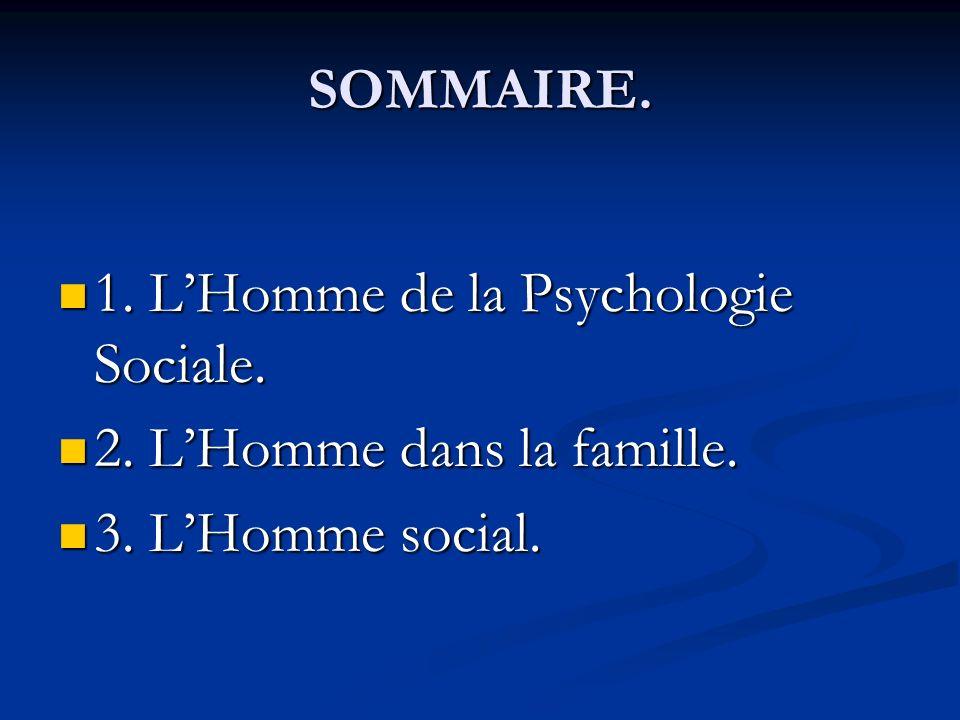SOMMAIRE. 1. L'Homme de la Psychologie Sociale. 2. L'Homme dans la famille. 3. L'Homme social.