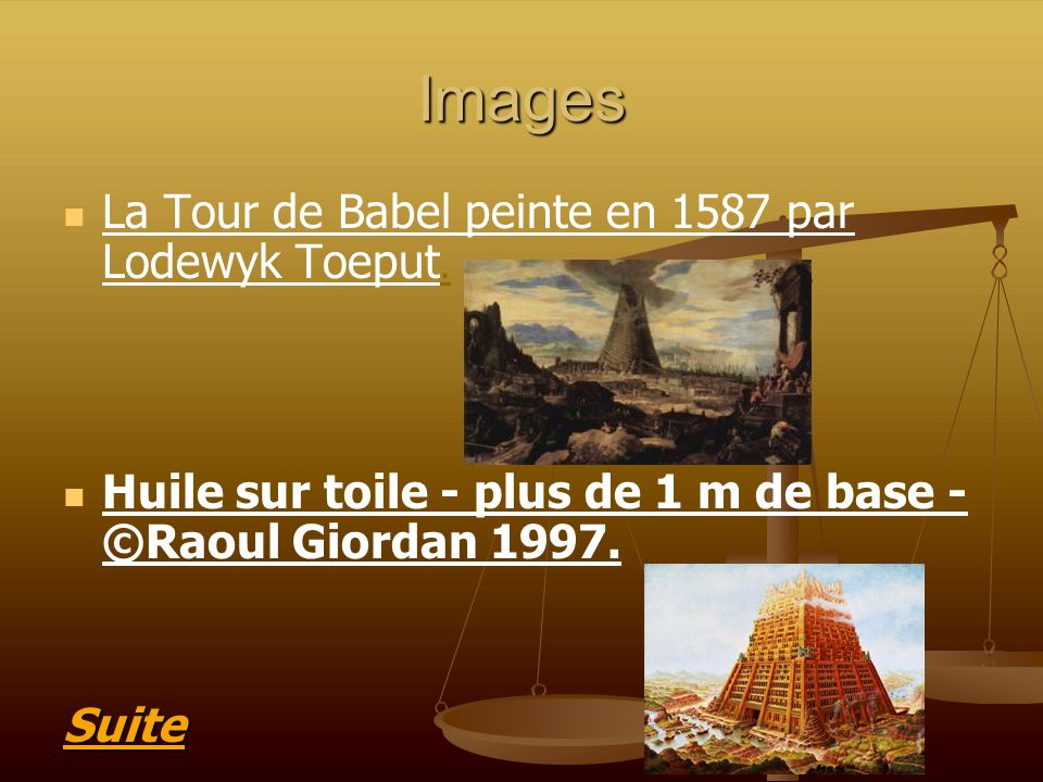 Images La Tour de Babel peinte en 1587 par Lodewyk Toeput.