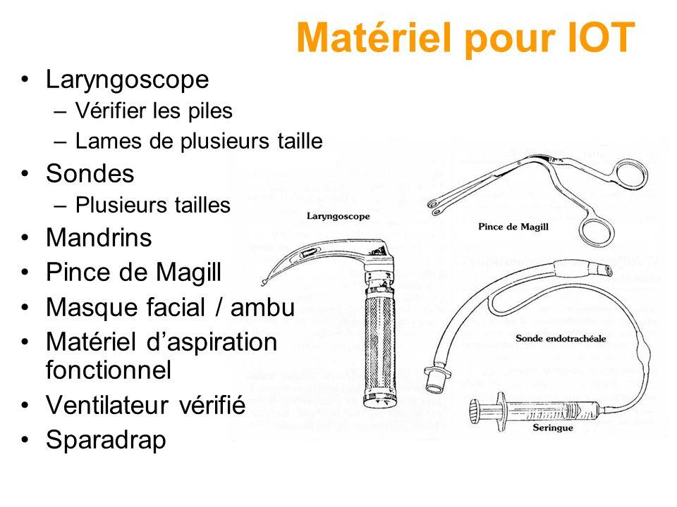 Matériel pour IOT Laryngoscope Sondes Mandrins Pince de Magill