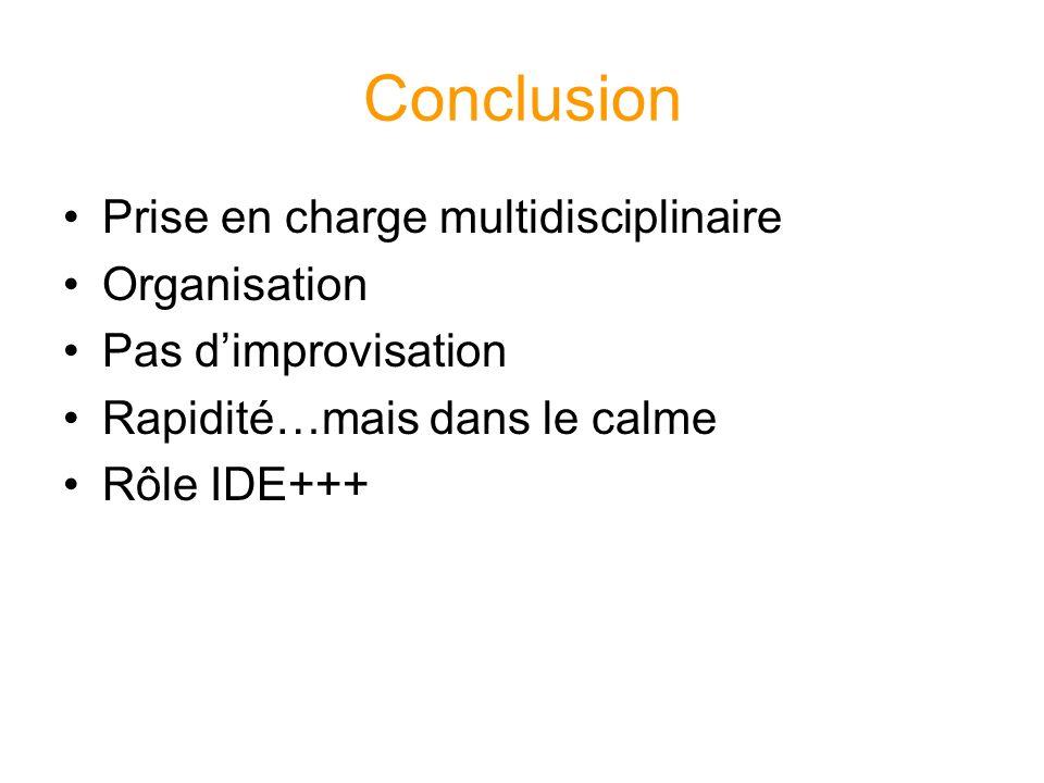 Conclusion Prise en charge multidisciplinaire Organisation