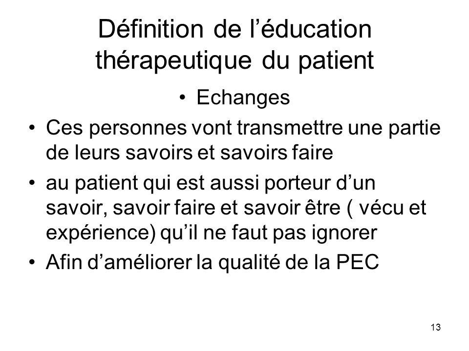 Définition de l'éducation thérapeutique du patient