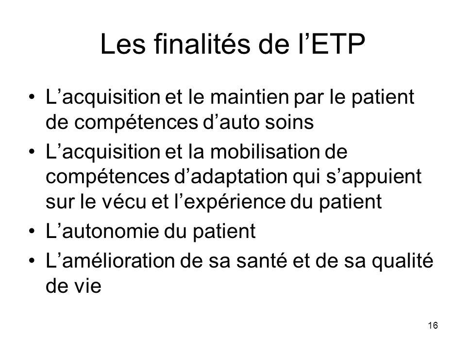 Les finalités de l'ETP L'acquisition et le maintien par le patient de compétences d'auto soins.