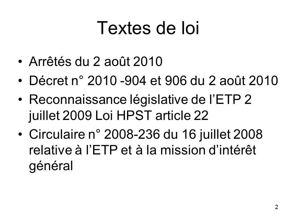 Textes de loi Arrêtés du 2 août 2010