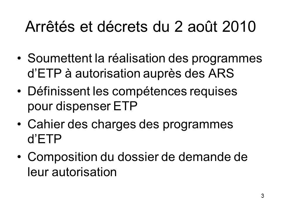 Arrêtés et décrets du 2 août 2010