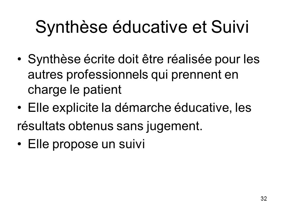 Synthèse éducative et Suivi