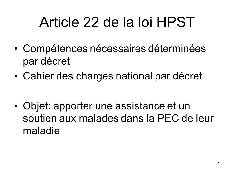 Article 22 de la loi HPST Compétences nécessaires déterminées par décret. Cahier des charges national par décret.