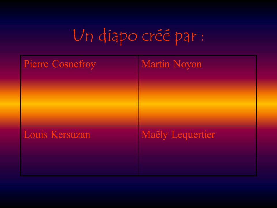 Un diapo créé par : Pierre Cosnefroy Martin Noyon Louis Kersuzan