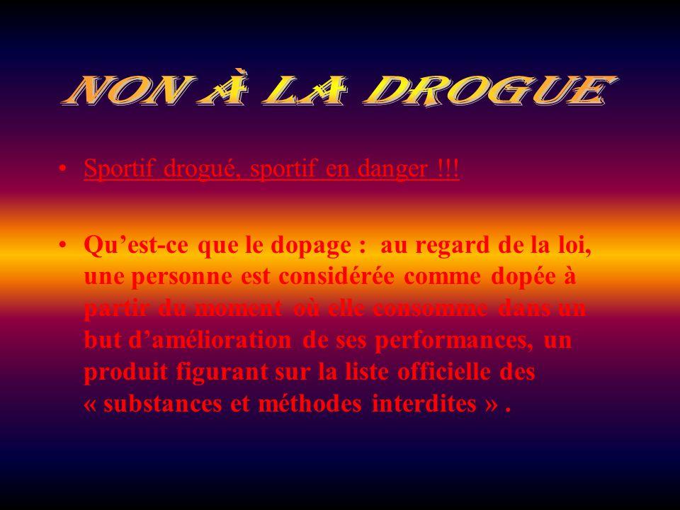 nON à la drogue Sportif drogué, sportif en danger !!!