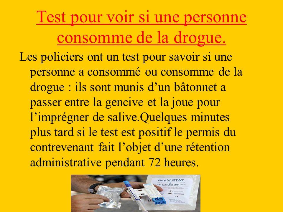 Test pour voir si une personne consomme de la drogue.