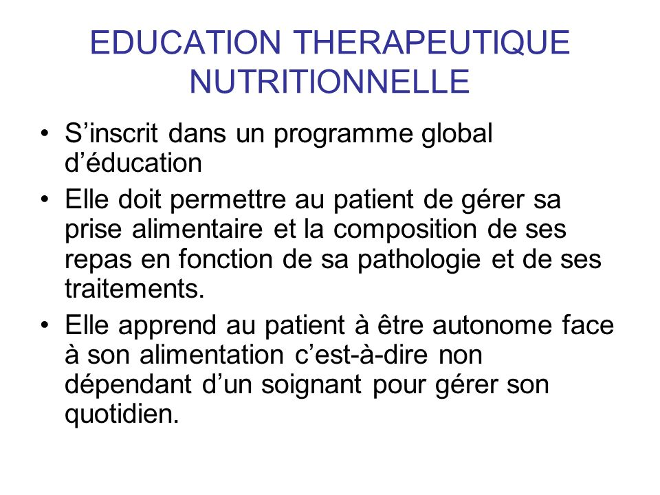 EDUCATION THERAPEUTIQUE NUTRITIONNELLE