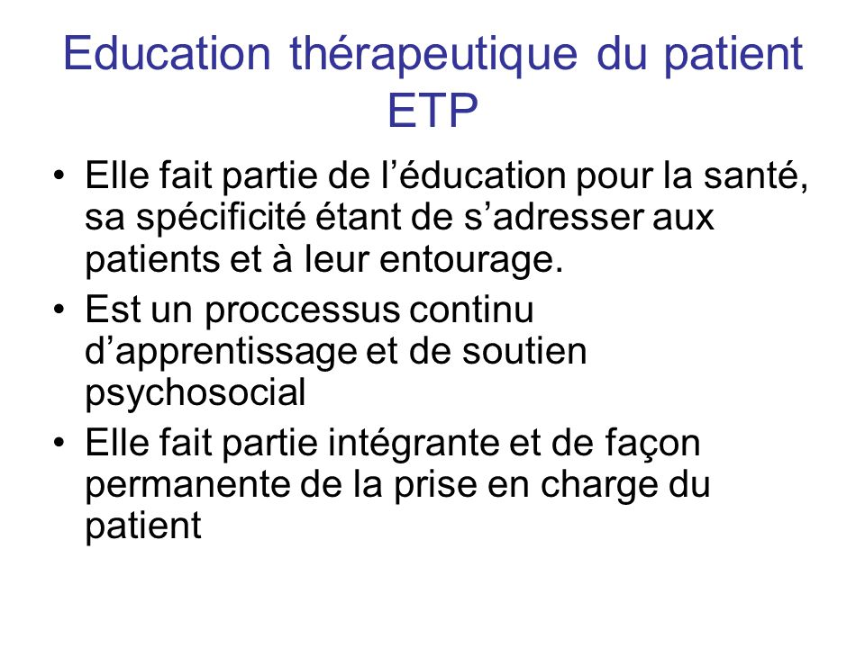 Education thérapeutique du patient ETP